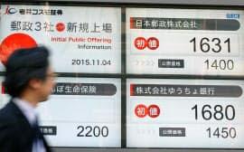日本郵政グループ3社が東証第1部に上場し、証券会社の電光掲示板に表示される初値(4日午前、東京都中央区)