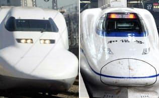 JR東海の新幹線「のぞみ」(写真左)と中国の高速鉄道