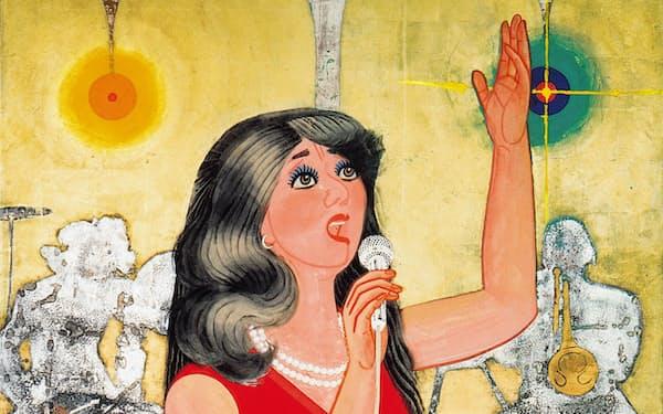 中島清之「喝采」                                                         1973年、紙本着色、199.4×139センチメートル、横浜美術館蔵(中島清之氏寄贈)