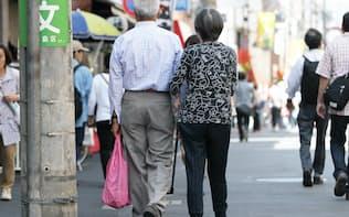巣鴨地蔵通り商店街を歩く高齢者(東京都豊島区)