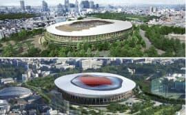 A案(上)とB案の新国立競技場イメージ図=日本スポーツ振興センター提供