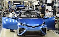 トヨタの燃料電池車「ミライ」=共同