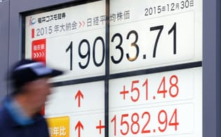 1万9033円で今年の取引を終えた日経平均株価(30日午後、東京都中央区)