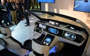 パナソニックはCESの会場でも運転席の将来図を提案した(6日、米ラスベガス)