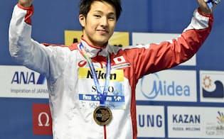 競泳の瀬戸大也は昨年の世界選手権400メートル個人メドレーで2連覇。リオ五輪でも金メダルの期待がかかる=共同