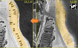 中国が実効支配する永興島の衛星写真。2月3日(右)には何もなかった海岸に、14日(左)には地対空ミサイルの発射装置とみられる物体などが点在している(ImageSat International N.V.(C)2016)=共同