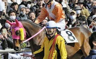 第1レースのパドックからコースへ向かう、16年ぶりに誕生した女性騎手の藤田菜七子(3日、川崎競馬場)=共同