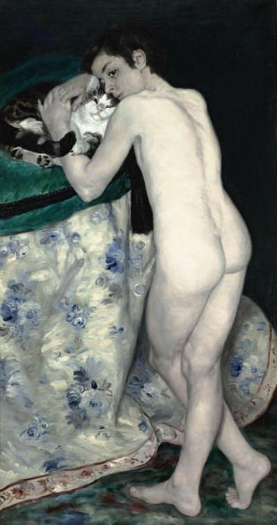 「猫と少年」(1868年、油彩、カンバス、123.5×66センチ、オルセー美術館蔵 (C) Musee d'Orsay, Dist. RMN-Grand Palais / Patrice Schmidt / distributed by AMF) ルノワールの極めてまれな男性裸体画。神話的主題ではなく、現実の少年を描いているのが特徴です。