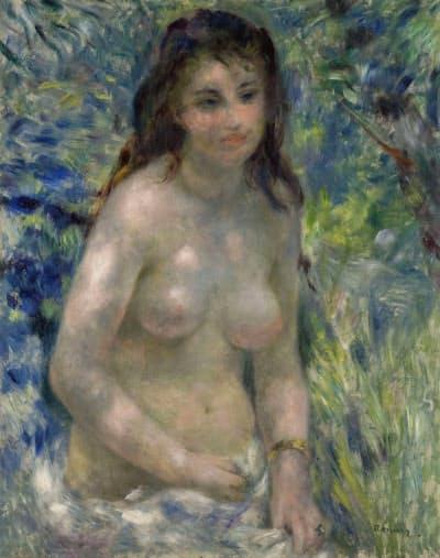 「陽光のなかの裸婦」(1876年ごろ、油彩、カンバス、81×65センチ、オルセー美術館蔵 (C) Musee d'Orsay, Dist. RMN-Grand Palais / Patrice Schmidt / distributed by AMF) 第2回印象派展に出品された作品。光の中で女性の裸体がとらえられています。紫と緑がまだらに置かれた肌は「腐敗した肉体」と酷評された一方で、みずみずしい色彩との賛辞も受けました。