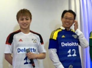 新体制発表には愛媛出身の白濱亜嵐さん(左)もかけつけた