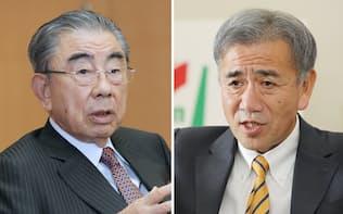 セブン&アイの鈴木会長(左)とセブン-イレブン・ジャパンの井阪社長