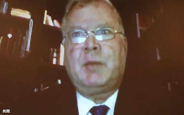 オンラインで結んで実施した日米財界人会議で、発言する米国のビーガン国務副長官(10月)=共同