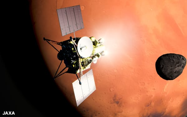 MMXは、はやぶさ2の経験を生かして火星の衛星「フォボス」からサンプルリターンをめざす(JAXA)