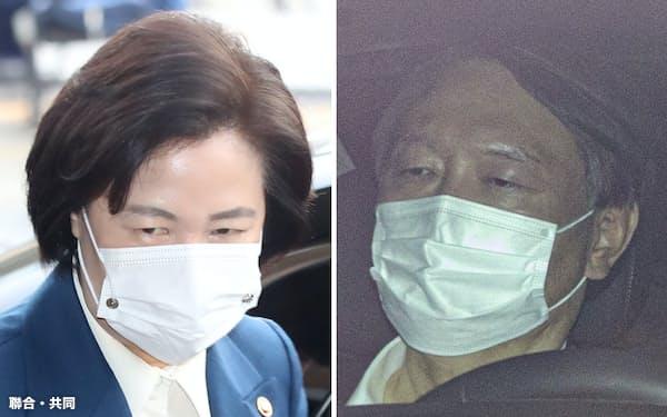 韓国の秋美愛法相㊧と尹錫悦検察総長=聯合・共同