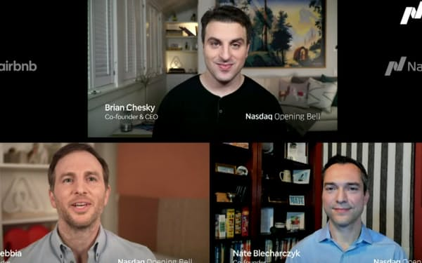 エアビーアンドビーの3人の創業者はインターネットを通じて配信した上場記念式典に出席した(上から時計回りにCEOのブライアン・チェスキー氏、ネイサン・ブレチャージク氏、ジョー・ゲビア氏)