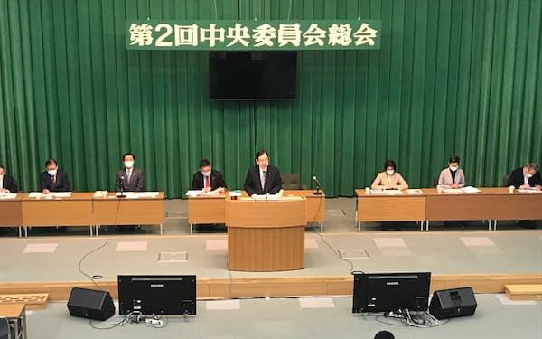 共産党第2回中央委員会総会で発言する志位和夫委員長(党本部)