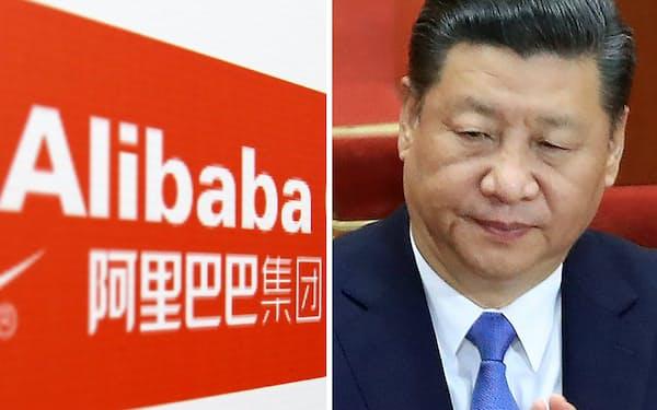 アリババ集団(写真左)と中国の習近平国家主席