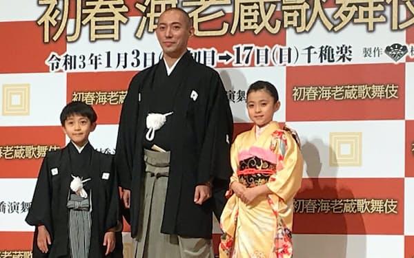 1月に新橋演舞場に登場する市川海老蔵(中央)、ぼたん(右)、勸玄