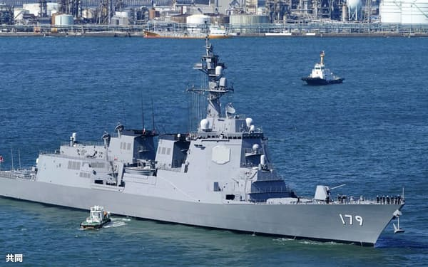 海上自衛隊のイージス艦「まや」=3月、横浜市