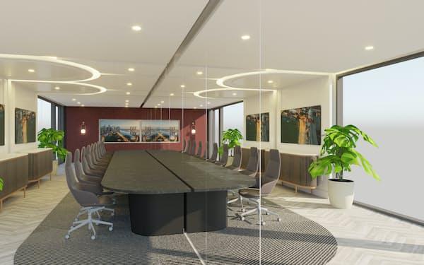 シンガポールのテマセク・ホールディングスが開業を予定する隔離不要の会議施設。ガラスで天井から床まで仕切り、感染リスクを抑える