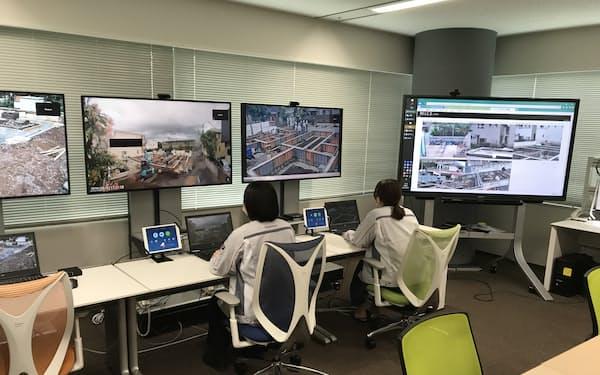 施工現場を遠隔管理する「スマートコントロールセンター」を本社・支社に設置した(東京本社の拠点)