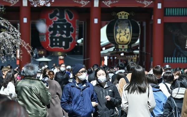 新型コロナウイルスの感染拡大が続くなか、マスク姿で浅草寺を訪れた観光客(東京都台東区)