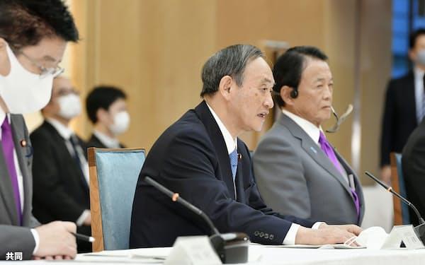 政府与党政策懇談会であいさつする菅首相=18日午後、首相官邸