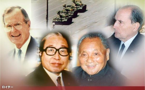 天安門事件を巡っては日本は中国の孤立を懸念した。写真は当時のブッシュ米大統領(左上)、宇野宗佑首相(中央左)、中国の鄧小平氏(中央右)、フランスのミッテラン大統領(右上)=ロイターなど・共同
