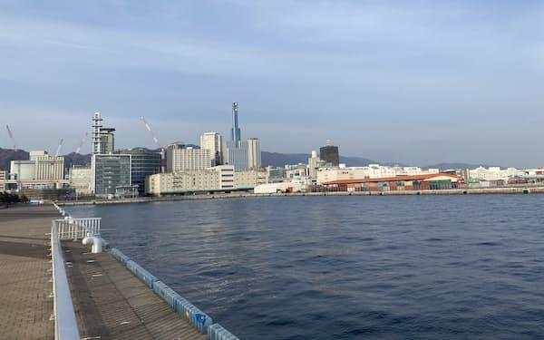 神戸市が長期間の貸し出しを検討する水域(23日、神戸市中央区)