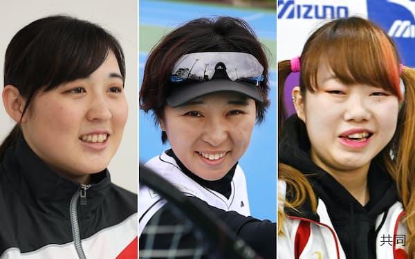 東京パラでメダル獲得の期待がかかる(左から)辻内、大谷、水田(共同)