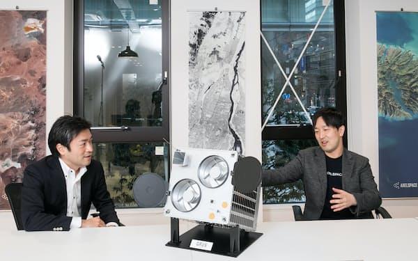 対談するシンスペクティブの新井元行CEO㊧とアクセルスペースの中村友哉CEO
