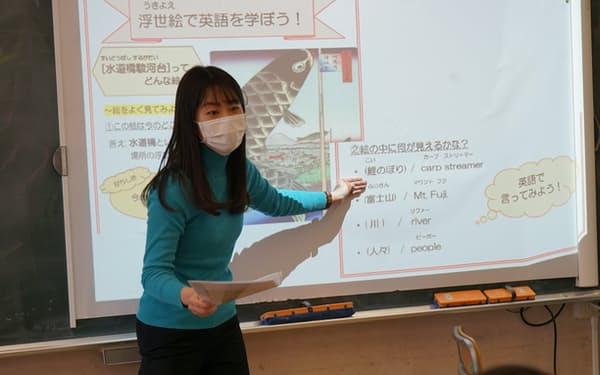 浮世絵で英語を学ぶ授業の先生役を務める津田塾大の学生