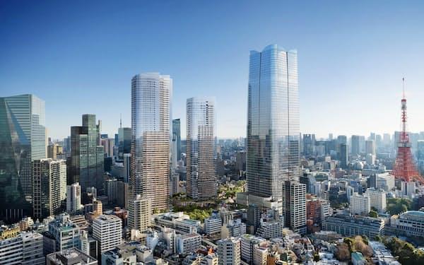 虎ノ門・麻布台プロジェクトの完成イメージ。あべのハルカスを抜いて、日本一高いビルになる予定