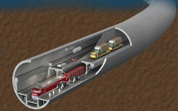 JAPICがまとめた「第2青函トンネル」構想ではトンネル内部を2層に分け、上部に自動運転車、下部は貨物列車が運行する(写真はイメージ)