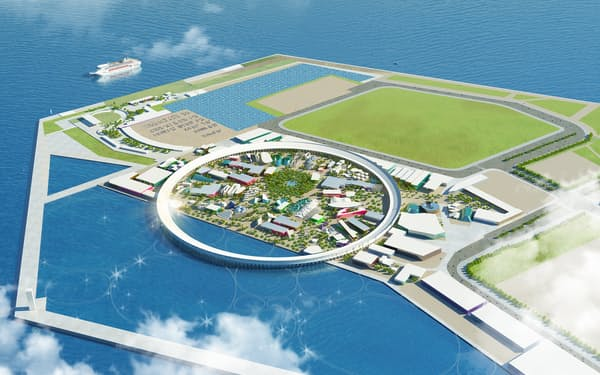 2020年12月に発表された基本計画では、1周約2キロの大屋根を持つ会場設計に変更された(日本国際博覧会協会提供)