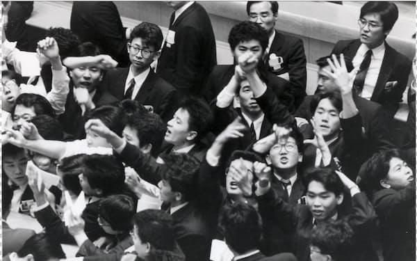 東京証券取引所の場立ち(1989年6月)