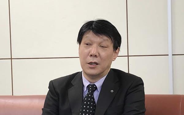 インタビューにこたえるNTT東日本の井上福造社長