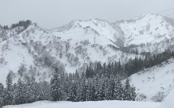 年末年始の寒波で雪が積もった山間部は雪崩に注意が必要だ(新潟県内)