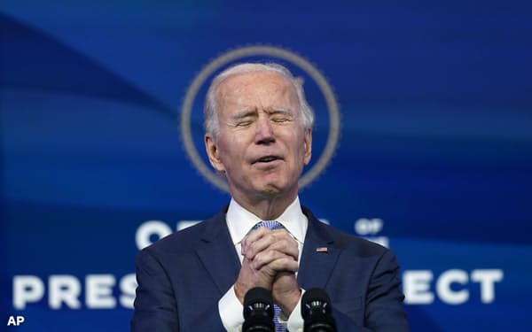 第46代米大統領への就任が正式に確定した民主党のバイデン前副大統領=AP