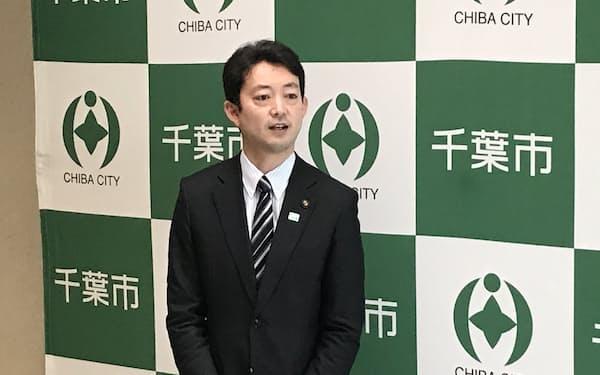 千葉市の熊谷俊人市長は3月3日付で辞職する意向を示した(8日、千葉市役所)