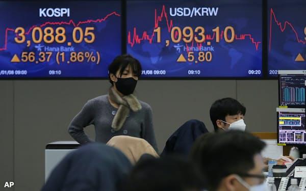 韓国総合株価指数(KOSPI)は年明けに3000台にのせ、史上最高値圏で推移している(1月8日、ソウルのKEBハナ銀行のディーリングルーム)=AP