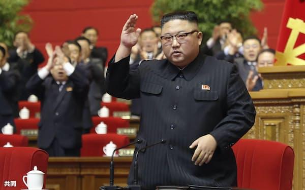 朝鮮労働党大会に臨む金正恩総書記=朝鮮中央通信・共同