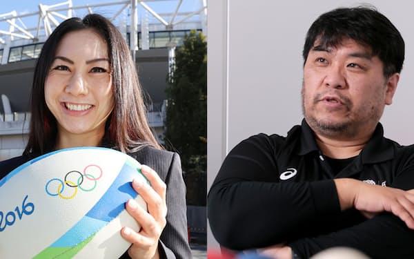 ラグビーのスポーツマネージャー、松尾エイミさん㊧とボッチャのスポーツマネージャー、斎藤保将さん