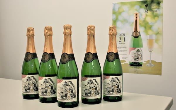武田信玄生誕500年記念ラベルのスパークリングワインは酵母もブドウも甲府市産で醸造した