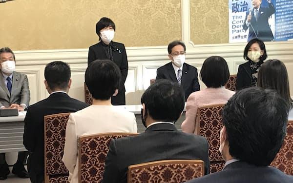 立憲民主党の参院幹事長に選出された森裕子氏(14日、国会内)