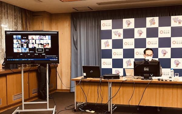 埼玉県の感染状況などをオンラインで説明する大野元裕知事(14日、埼玉県庁)