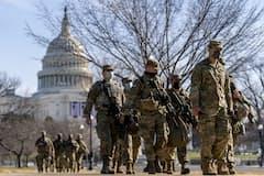 20日のバイデン次期大統領就任式を前に、ワシントンでは厳戒態勢が敷かれている=AP