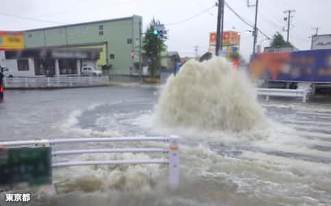 19年の台風19号では東京都八王子市内の下水が雨水の流入であふれた