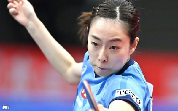 女子シングルスで5大会ぶり5度目の優勝を果たした石川佳純=共同
