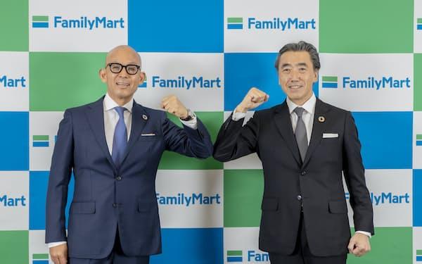 ファミマ次期社長の細見研介氏(左)。澤田貴司社長は副会長となる